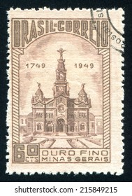 BRAZIL - CIRCA 1949: stamp printed by Brazil, shows  Church of Sao Francisco de Paula, circa 1949