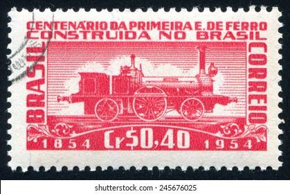 BRAZIL - CIRCA 1954: stamp printed by Brazil, shows  locomotive, circa 1954