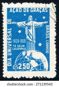 BRAZIL - CIRCA 1959: stamp printed by Brazil, shows  Corcovado Christ Globe and Southern Cross, circa 1959