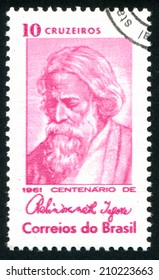 BRAZIL - CIRCA 1961: stamp printed by Brazil, shows  Rabindranath Tagore, Indian poet, circa 1961