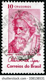 BRAZIL - CIRCA 1961: a stamp printed in the Brazil shows Rabindranath Tagore, Indian Poet, circa 1961