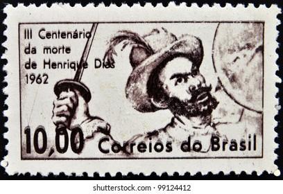 BRAZIL - CIRCA 1962: A stamp printed in Brazil shows Henrique Dias, circa 1962