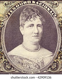 BRAZIL - CIRCA 1963: Princess Isabel on 50 Cruzerios 1963 Banknote from Brazil. Princess during the last decades of the reign of her father Pedro II and regent of Brazil three times while her father was away.
