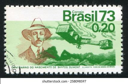 BRAZIL - CIRCA 1973: stamp printed by Brazil, shows  Santos-Dumont and 14-Bis Plane, circa 1973