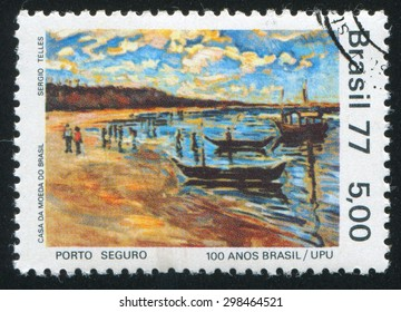 BRAZIL - CIRCA 1977: stamp printed by Brazil, shows  Beach and boats, circa 1977