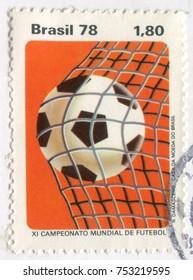 BRAZIL - CIRCA 1978: Postage stamp printed in Brazil showing a ball into a footballl goal. circa 1978.