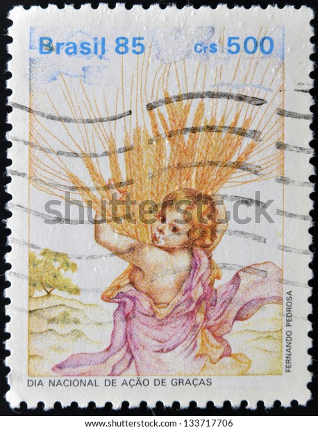 BRAZIL - CIRCA 1985: A stamp printed in Brazil dedicated to national day of thanksgiving, circa 1985