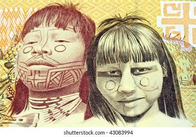 BRAZIL- CIRCA 1991: Indian children on 1000 Cruzeiros 1991 banknote from Brazil.