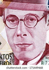 BRAZIL - CIRCA 1993: Mario de Andrade (1893-1945) on 500000 Cruzeiros 1993 Banknote from Brazil. Brazilian poet, novelist, musicologist, art historian and critic, and photographer.