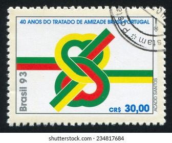 BRAZIL - CIRCA 1993: stamp printed by Brazil, shows  Brazil-Portugal Treaty of Consultation and Friendship, circa 1993