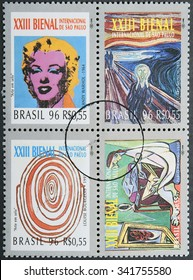 BRAZIL- CIRCA 1996: Four postage stamps of Brazil shows four works of art of the 23 International Biennial of Sao Paulo