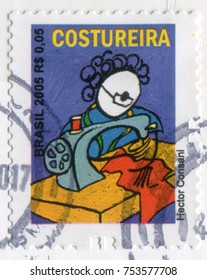 BRAZIL - CIRCA 2005: A stamp printed in Brazil showing a picture of a Tailor working on a sewing machine by Hector Consani. Professions series, circa 2005