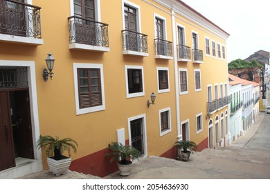 Brazil, city of São Luis, state of Maranhão, October 2021. Facades of colonial buildings at the beginning of Rua do Giz in São Luis MA, elected by Vogue magazine as the sixth most beautiful street in