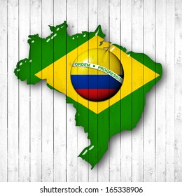 brazil, Colombia  flag map, wood white background