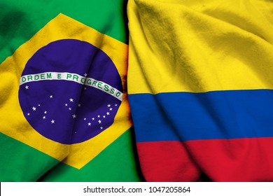 Brazil and Colombia flag together