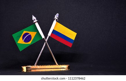 Brazil and Colombia table flag with black Background