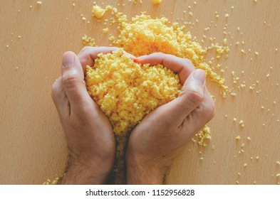 """In Brazil, """"Cuscuz"""" can be made from flour or sprinkles of corn, rice or cassava. Salted and lightly moistened, the dough is put to marinate to incorporate the seasoning."""