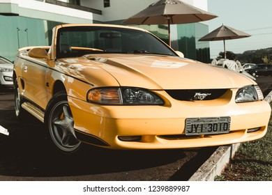 Chapecó, Brazil - December 2017 1994 Yellow Convertible Ford Mustang