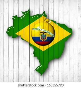 brazil, Ecuador flag map, wood white background