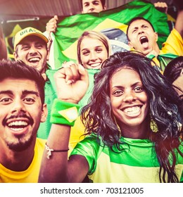 Brazil Fans Cheering at the Stadium