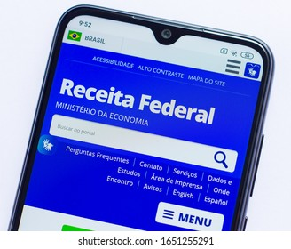 Brazil, February 20, 2020 - Receita Federal page displayed on smartphone screen
