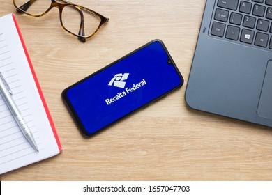 Brazil, February 26, 2020 - Logo of the Receita Federal displayed on smartphone screen