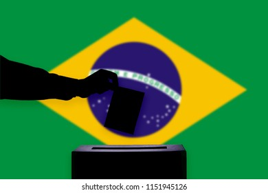 Brazil flag with ballot box during elections / referendum