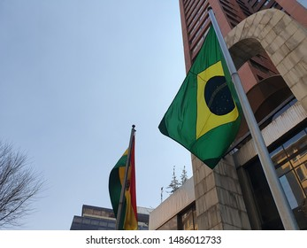 Brazil flag and Bolivia flag in the top