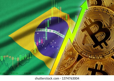 Brazil flag and cryptocurrency growing trend with many golden bitcoins