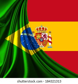 Brazil flag fabric and spain flag background
