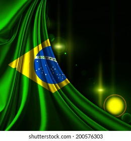 Brazil flag fabric and sun background