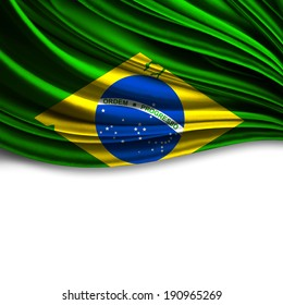 Brazil flag fabric and white background