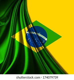 Brazil flag, fabric and yellow background