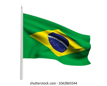 Brazil flag floating in the wind with a White sky background. 3D illustration.