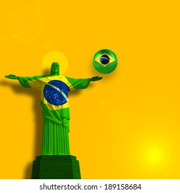 brazil flag  jesus soccer ball and yellow background