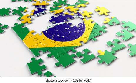 Brazil flag made with jigsaw puzzle pieces. A jigsaw puzzle with a print of the flag of Brazil. Flag symbols of Brazil.