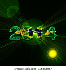 brazil flag numbers  and green abstract  background
