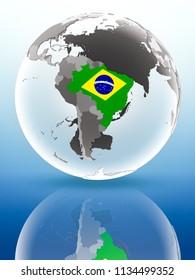 Brazil with flag on globe reflecting on shiny surface. 3D illustration.