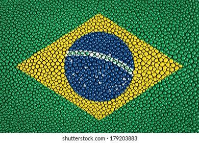 Brazil flag on stingray skin texture