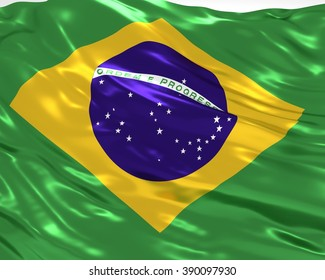 Brazil flag on white background