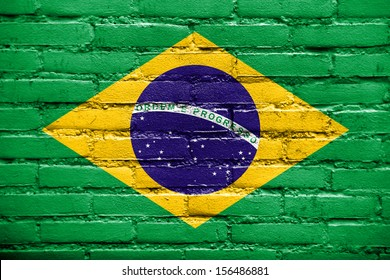 Brazil Flag painted on old brick wall
