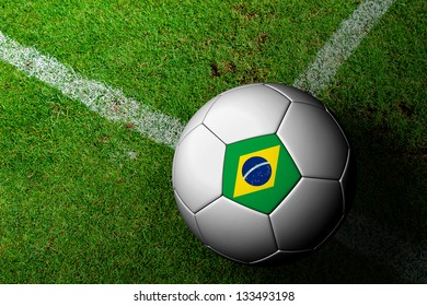 Brazil Flag Pattern of a soccer ball in green grass
