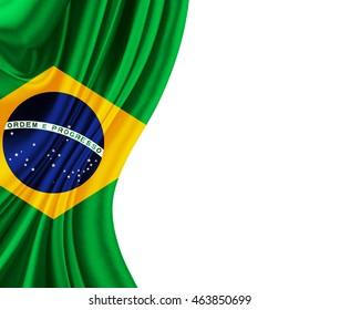 Brazil flag of silk 3D illustration