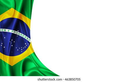 Brazil flag of silk 3D illustration