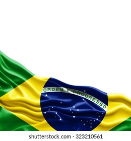 Brazil  flag of silk with copyspace for your text or images and white background