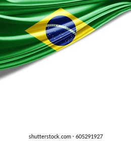 Brazil  flag of silk with copyspace for your text or images and white background-3D illustration