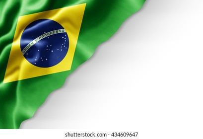 Brazil flag of silk-3D illustration