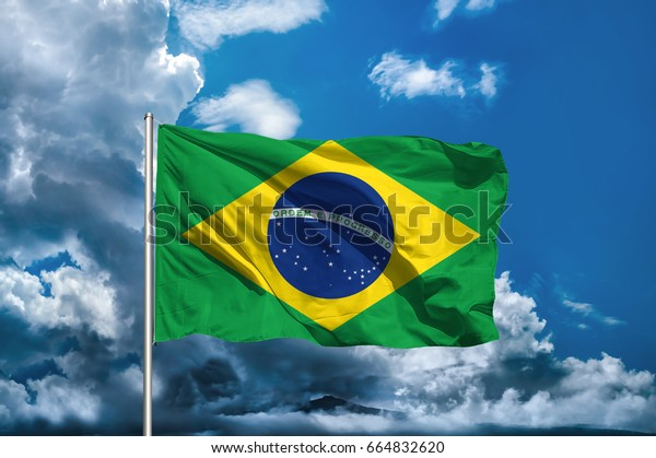 Brazil flag with sky background