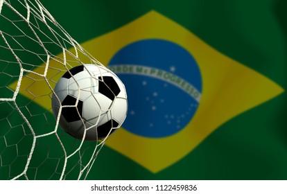 Brazil flag and soccer ball. Concept sport.
