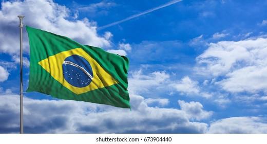 Brazil flag waving on a blue sky background. 3d illustration